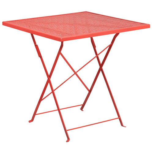 """Our Commercial Grade 28"""" Square Coral Indoor-Outdoor Steel Folding Patio Table is on sale now."""