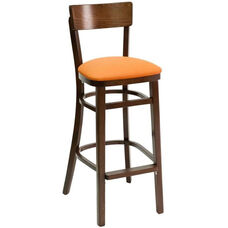 Classic Indoor Collection Beechwood Small Rectangular Back Barstool - Walnut