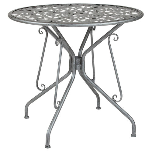 """Our Agostina Series 31.5"""" Round Antique Silver Indoor-Outdoor Steel Patio Table is on sale now."""