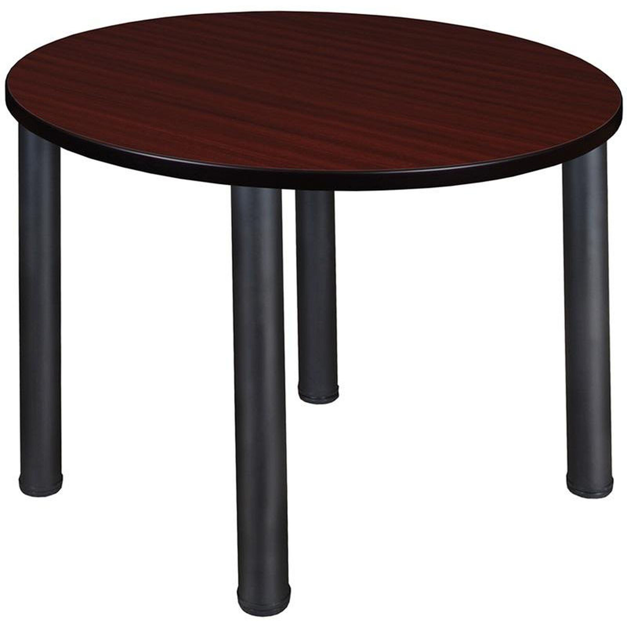 Kee 36'' Round Laminate Breakroom Table with PVC Edge - Mahogany with Black  Legs
