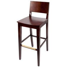 Dover Classic Walnut Wood Barstool - Wood Seat