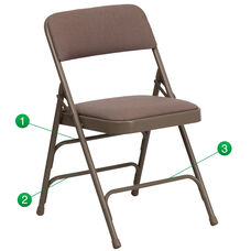 HERCULES Series Curved Triple Braced & Double Hinged Beige Fabric Metal Folding Chair
