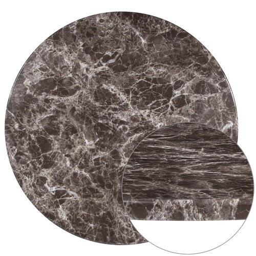 "Our 36"" Round Gray Marble Laminate Table Top is on sale now."