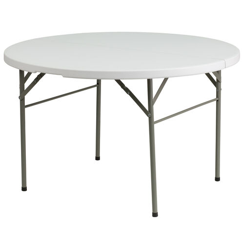 """Our 48"""" Round Bi-Fold Granite White Plastic Banquet and Event Folding Table with Carrying Handle is on sale now."""