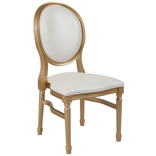 Our HERCULES Series 900 lb. Capacity King Louis Chair with White Vinyl Back and Seat and Gold Frame is on sale now.