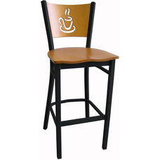 Wood Back with Cup Cutout Armless Metal Barstool - Natural Finish