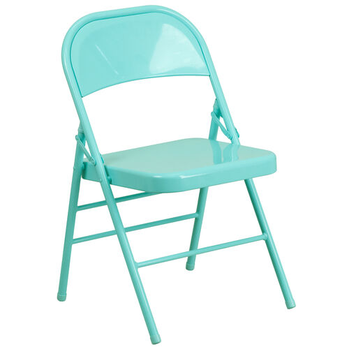 Our HERCULES COLORBURST Series Tantalizing Teal Triple Braced & Double Hinged Metal Folding Chair is on sale now.