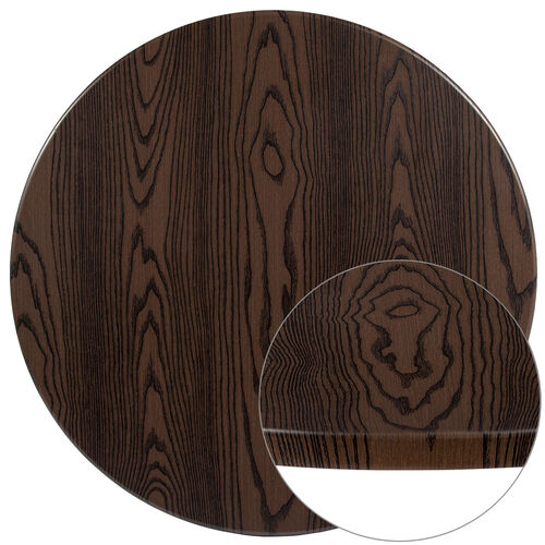 """Our 42"""" Round Rustic Wood Laminate Table Top is on sale now."""
