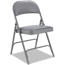 Alera® Traditional Steel Folding Chair with Padded Vinyl Back and Seat - Set of Four - Light Gray