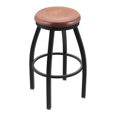 Misha 30'' Black Wrinkle Finish Swivel Barstool with Medium Maple Wood Seat