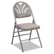 Cosco® Fabric Padded Seat/Molded Fan Back Folding Chair - Kinnear Taupe - 4/Carton