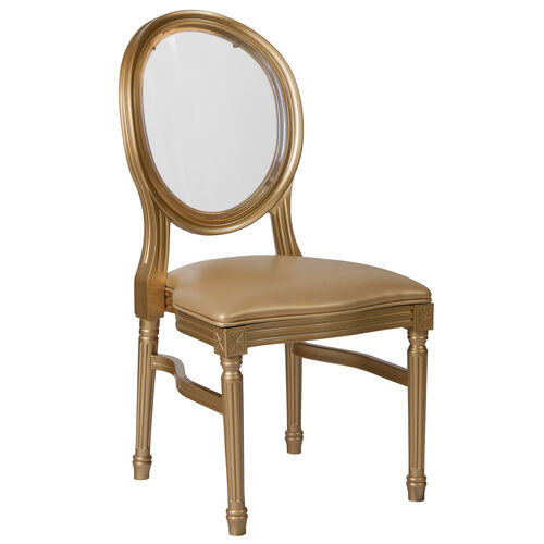 Our HERCULES Series 900 lb. Capacity King Louis Chair with Transparent Back, Gold Vinyl Seat and Gold Frame is on sale now.