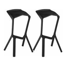 Aspect Ultra Modern Outdoor Black Barstool - Set of 2