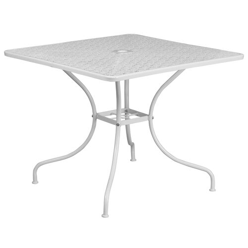 "Our Commercial Grade 35.5"" Square White Indoor-Outdoor Steel Patio Table is on sale now."