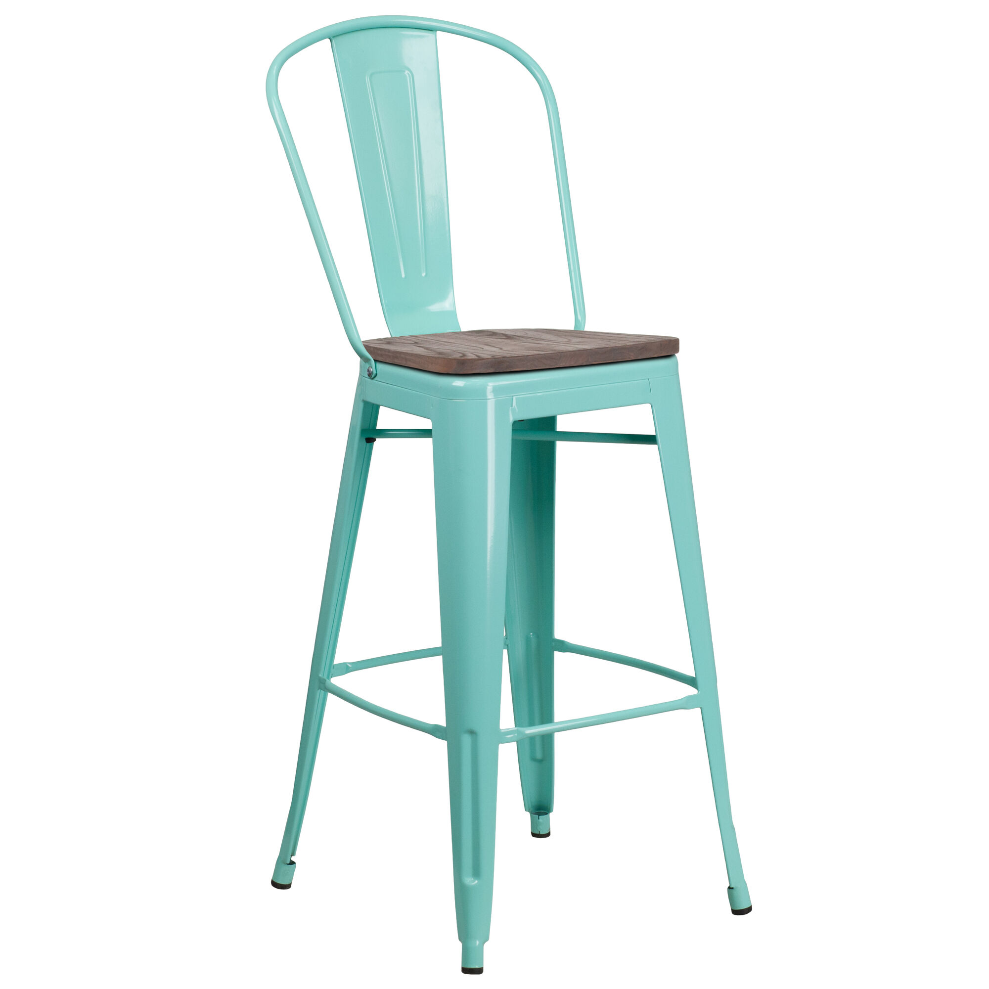 Magnificent 30 High Mint Green Metal Barstool With Back And Wood Seat Pabps2019 Chair Design Images Pabps2019Com