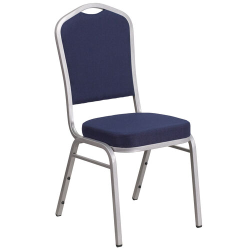 Our HERCULES Series Crown Back Stacking Banquet Chair in Navy Fabric - Silver Frame is on sale now.
