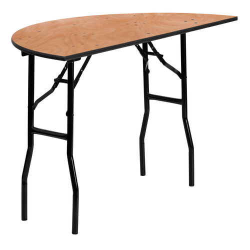 Our 4-Foot Half-Round Wood Folding Banquet Table is on sale now.
