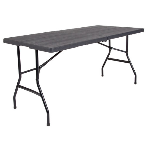 Our 5-Foot Bi-Fold Wood Grain Plastic Folding Table is on sale now.