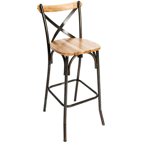Our Henry Rustic Metal Cross Back Barstool - Natural Ash Wood Seat is on sale now.