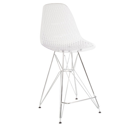 """Our 26"""" High Clear Acrylic Counter Height Stool with Chrome Legs is on sale now."""