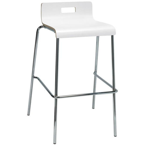Our JIVE Series Stacking Bentwood Low Back Cafe Barstool with HPL Surface and Silver Steel Frame - White is on sale now.