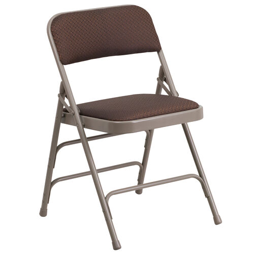 Our HERCULES Series Curved Triple Braced & Double Hinged Brown Patterned Fabric Metal Folding Chair is on sale now.