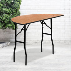 4-Foot Half-Round Wood Folding Banquet Table