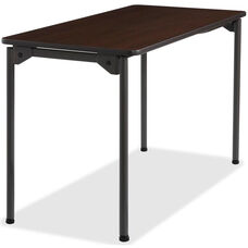 Iceberg Wood Rectangular 24''W x 48''D Folding Table - Walnut