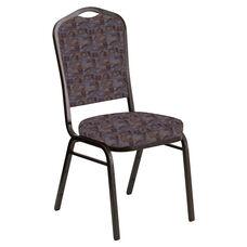 Crown Back Banquet Chair in Perplex Azure Fabric - Gold Vein Frame