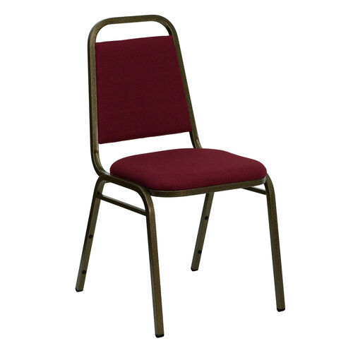 Our HERCULES Series Trapezoidal Back Stacking Banquet Chair in Burgundy Fabric - Gold Vein Frame is on sale now.