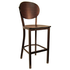 Metal Barstool with Round Back and Veneer Seat