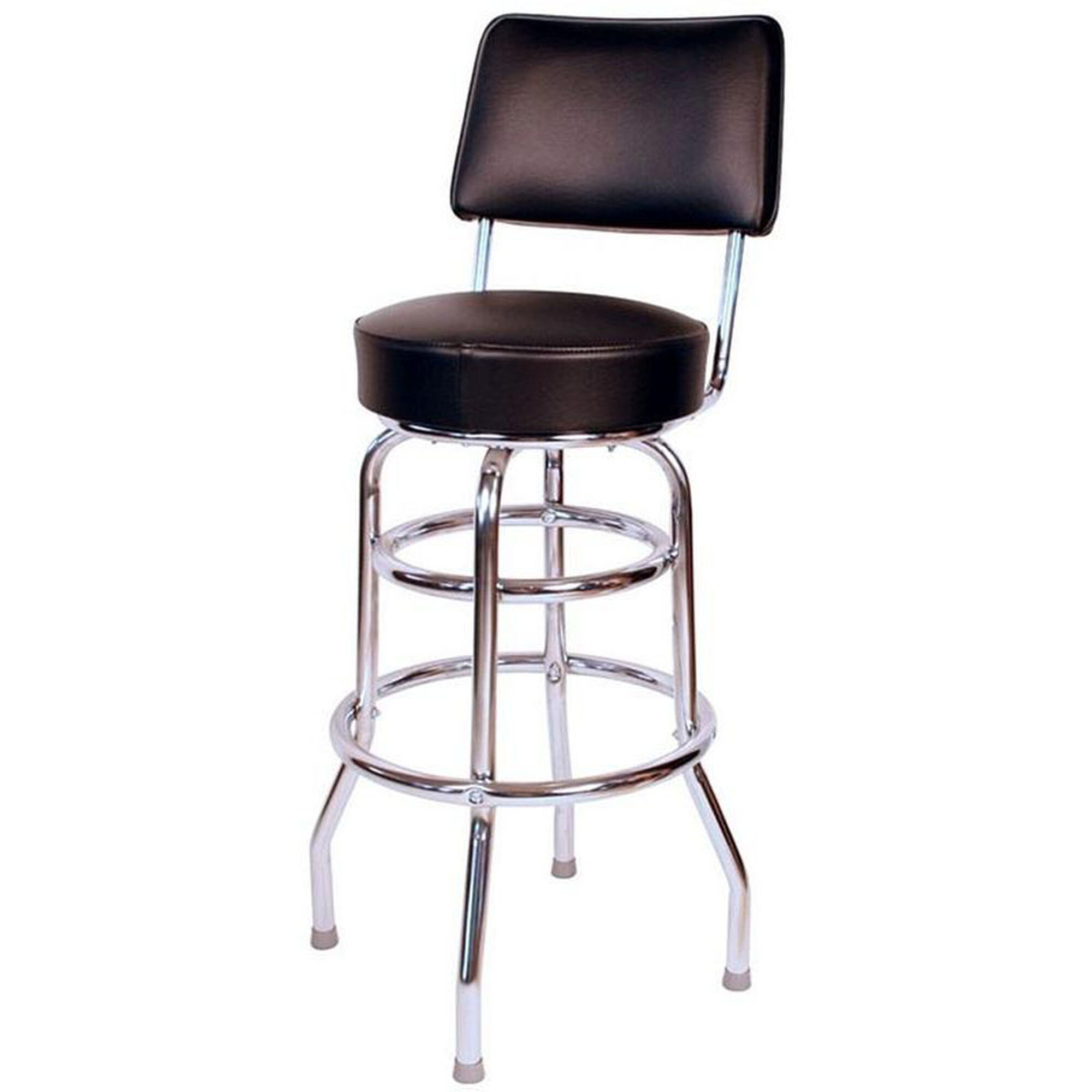 Super Retro Style Double Ring Chrome Frame 30 Swivel Bar Stool With Backrest And Padded Seat Black Vinyl Andrewgaddart Wooden Chair Designs For Living Room Andrewgaddartcom