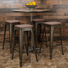 "30"" High Metal Indoor Bar Stool with Wood Seat in Gun Metal Gray - Stackable Set of 4"