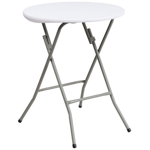 Our 2-Foot Round Granite White Plastic Folding Table is on sale now.