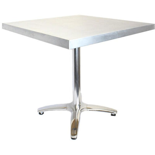Our Square Zinc Table with Polished Stainless Steel Base - 30