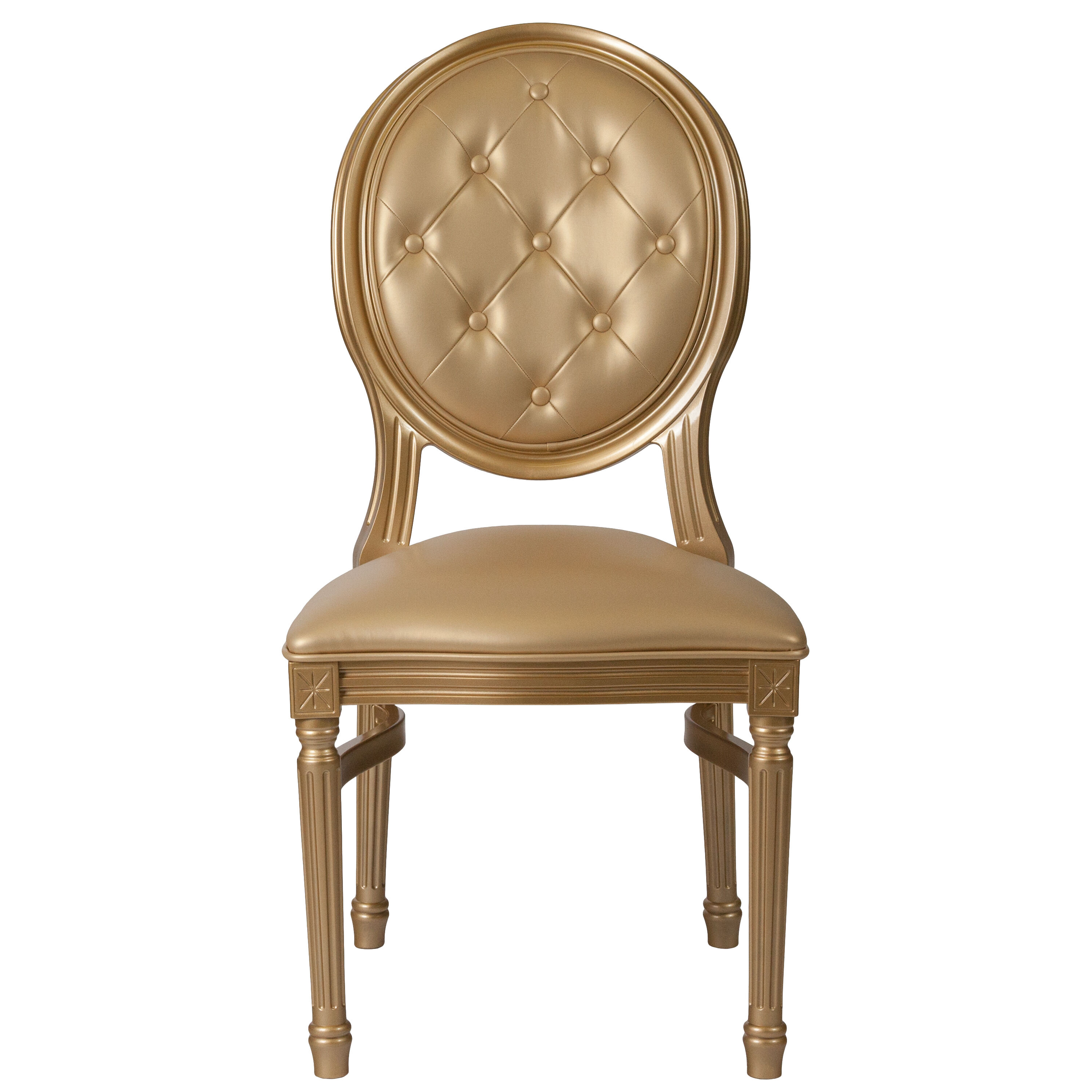 Capacity King Louis Chair With Tufted Back, Gold Vinyl