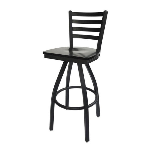 Our Lima Metal Ladder Back Swivel Barstool - Black Wood Seat is on sale now.