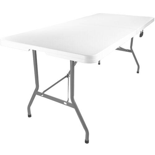 Advantage 8 ft. Bifold Rectangular White Plastic Folding Table