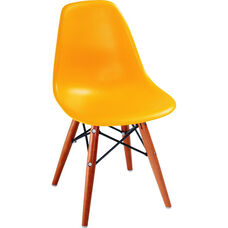 Kids Shell Plastic Side Chair with Wood Legs - Orange