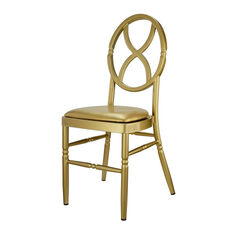 Velika Series Stackable Sand Glass Aluminum Dining Chair with Gold Vinyl Cushion - Set of 2 - Gold