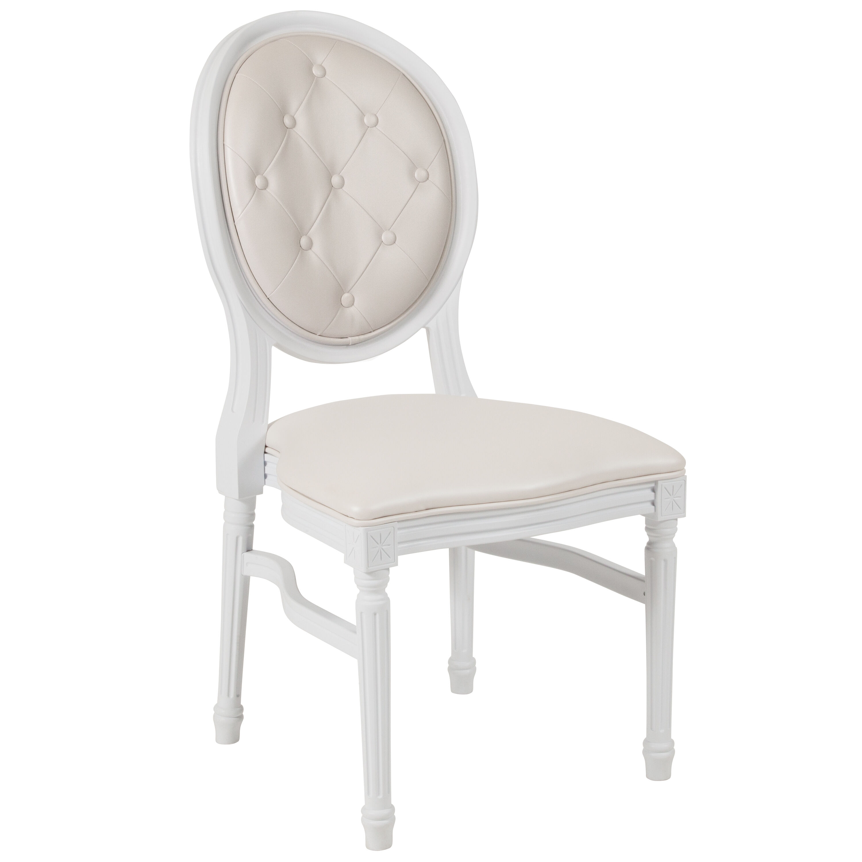 Capacity King Louis Chair with Tufted Back White Vinyl ...  sc 1 st  Best Chiavari Chairs & Round Back Chair - White Frame LE-W-W-T-GG | BestChiavariChairs.com