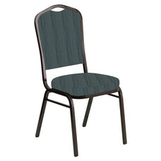 Embroidered Crown Back Banquet Chair in Mystery Azure Fabric - Gold Vein Frame