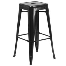 "Commercial Grade 30"" High Backless Black Metal Indoor-Outdoor Barstool with Square Seat"