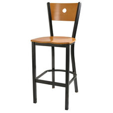 Wood Moon Back Barstool with Metal Frame