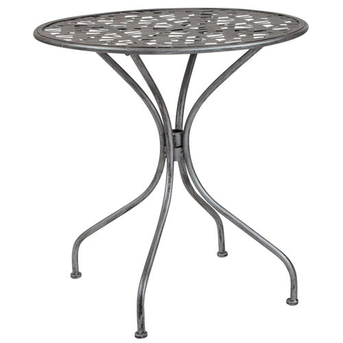 """Our Agostina Series 27.5"""" Round Antique Silver Indoor-Outdoor Steel Patio Table is on sale now."""