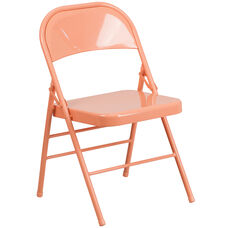 HERCULES COLORBURST Series Sedona Coral Triple Braced & Double Hinged Metal Folding Chair