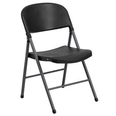 HERCULES Series 330 lb. Capacity Black Plastic Folding Chair with Charcoal Frame