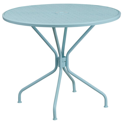 """Our Commercial Grade 35.25"""" Round Sky Blue Indoor-Outdoor Steel Patio Table is on sale now."""