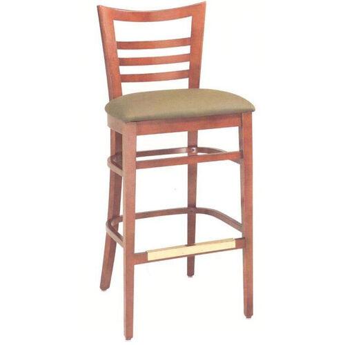 1636 Bar Stool w/ Upholstered Seat & Brass Trim Footrest - Grade 1