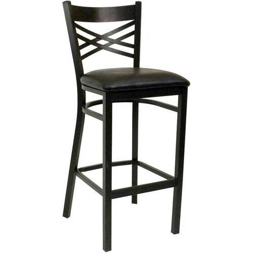 Our Quick Ship Lattice Back Metal Barstool - Black Vinyl Seat is on sale now.